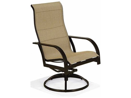 Winston Key West Sling Aluminum Ultimate High Back Swivel Tilt Arm Dining Chair PatioLiving