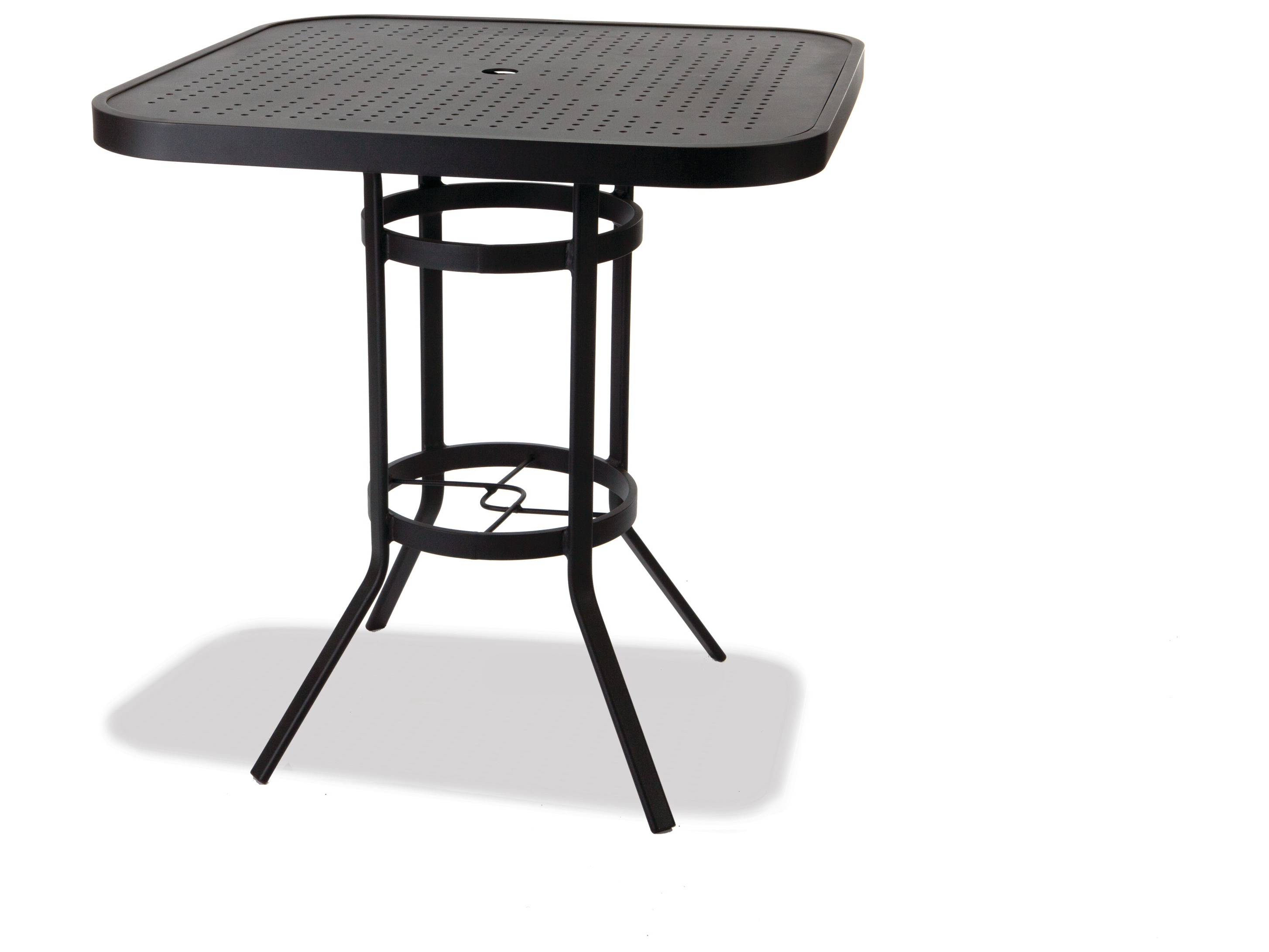 winston stamped aluminum 36 39 39 square metal bar table with umbrella hole m8136hstuq. Black Bedroom Furniture Sets. Home Design Ideas