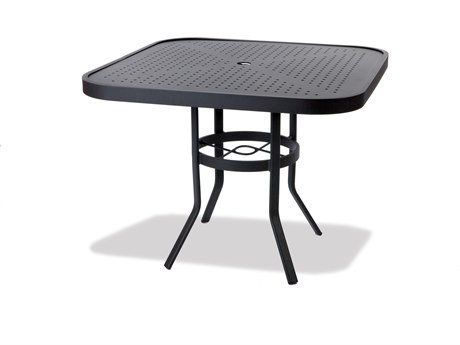 Winston Stamped Aluminum 36'' Square Metal Dining Table with Umbrella Hole
