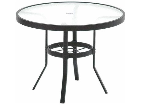 Winston Obscure Glass Aluminum 42'' Round Table with Umbrella Hole WSM8142RGU