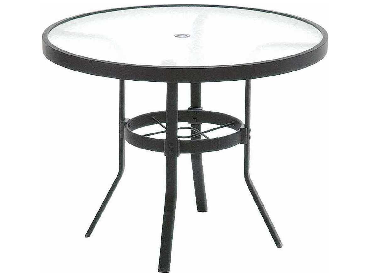 winston obscure glass aluminum 42 39 39 round table with umbrella hole wsm8142rgu. Black Bedroom Furniture Sets. Home Design Ideas