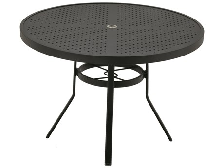 Winston Stamped Aluminum 42'' Round Dining Table with Umbrella Hole