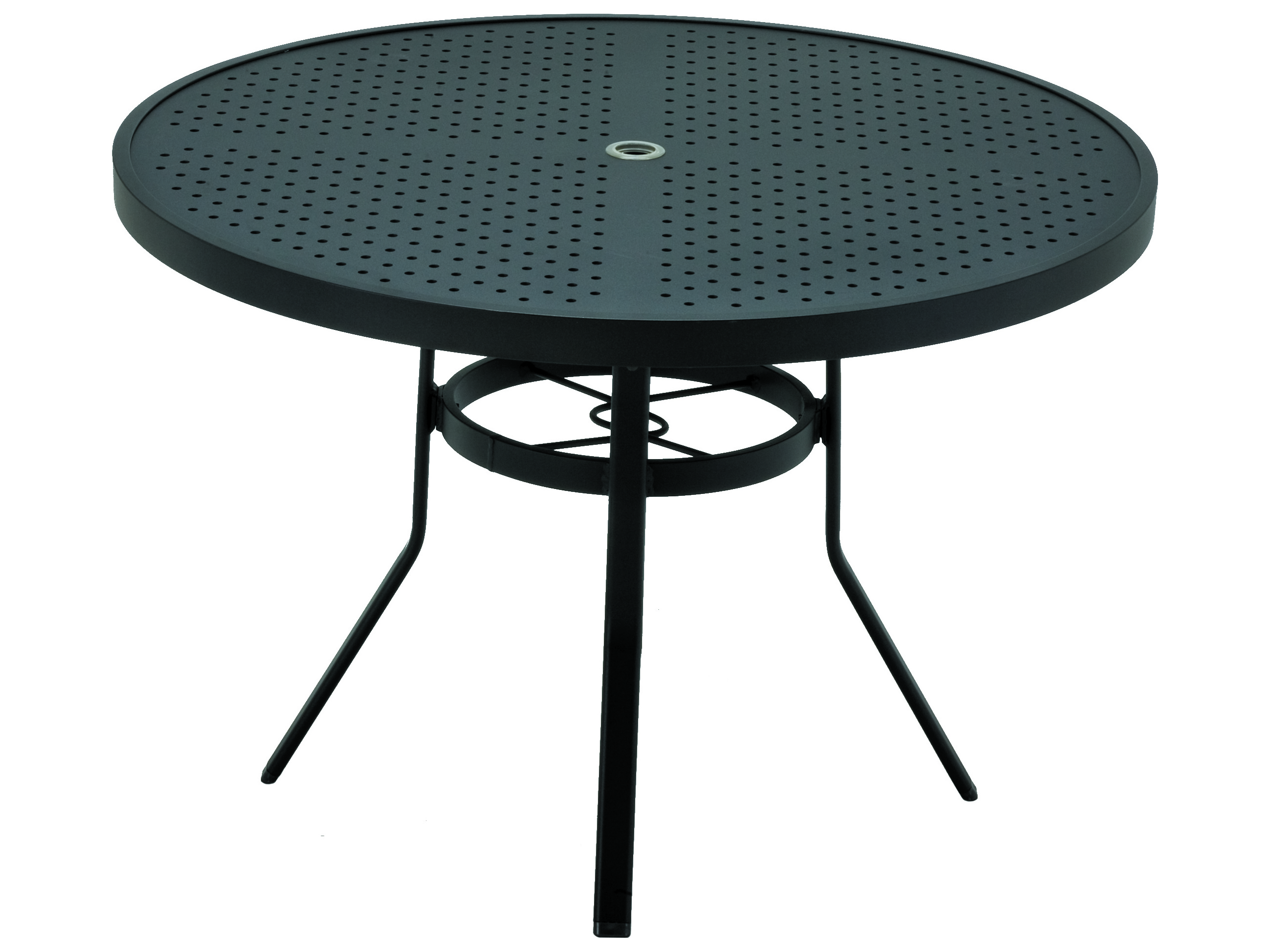 Winston stamped aluminum 42 39 39 round dining table with - Aluminium picnic table with umbrella ...