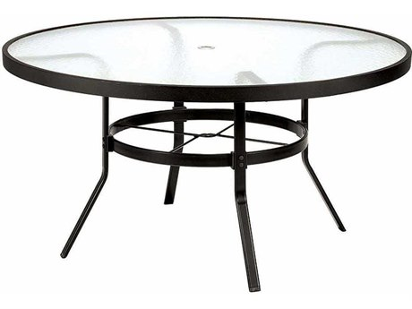 Winston Obscure Glass Aluminum 48'' Round Dining Table with Umbrella Hole PatioLiving