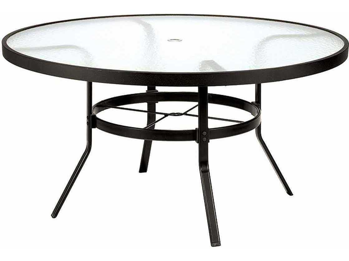 Winston obscure glass aluminum 48 39 39 round dining table - Aluminium picnic table with umbrella ...
