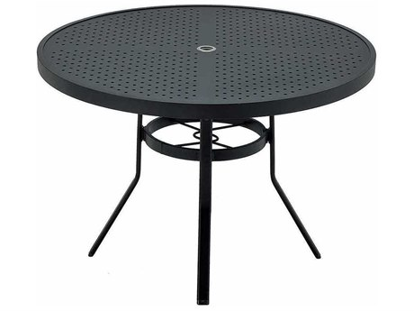 Winston Stamped Aluminum 48'' Round Metal Dining Table with Umbrella Hole WSM8148ST