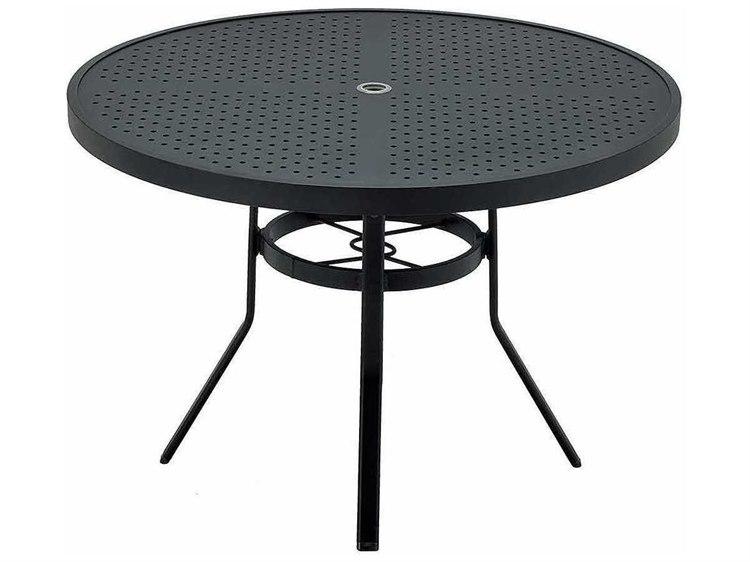 Winston stamped aluminum 48 39 39 round metal dining table - Aluminium picnic table with umbrella ...