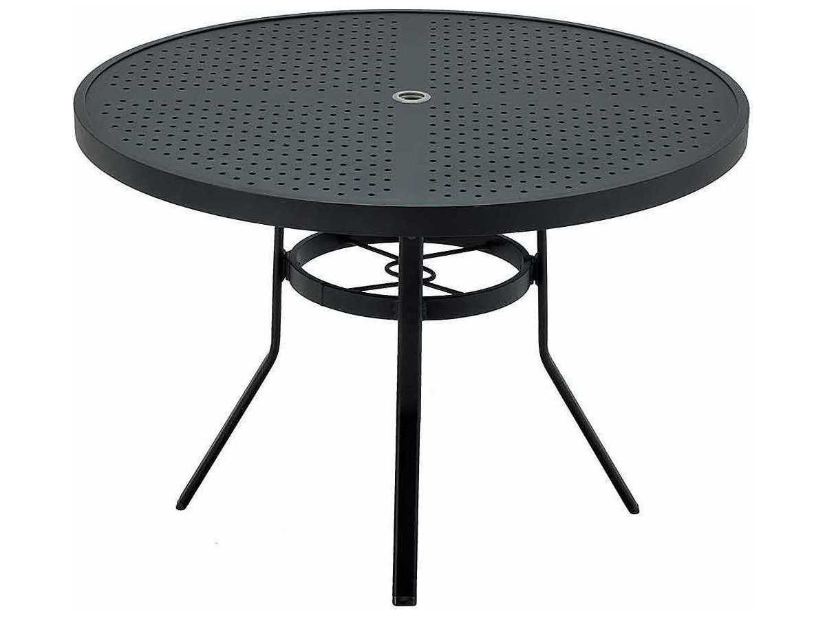 winston stamped aluminum 48 39 39 round metal dining table with umbrella hole wsm8148st. Black Bedroom Furniture Sets. Home Design Ideas
