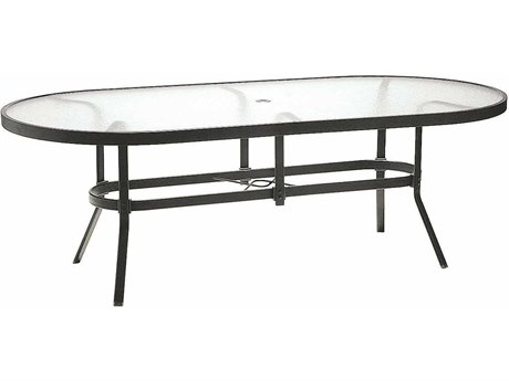 Winston Obscure Glass Aluminum 84'' x 42'' Oval Dining Table with Umbrella Hole PatioLiving
