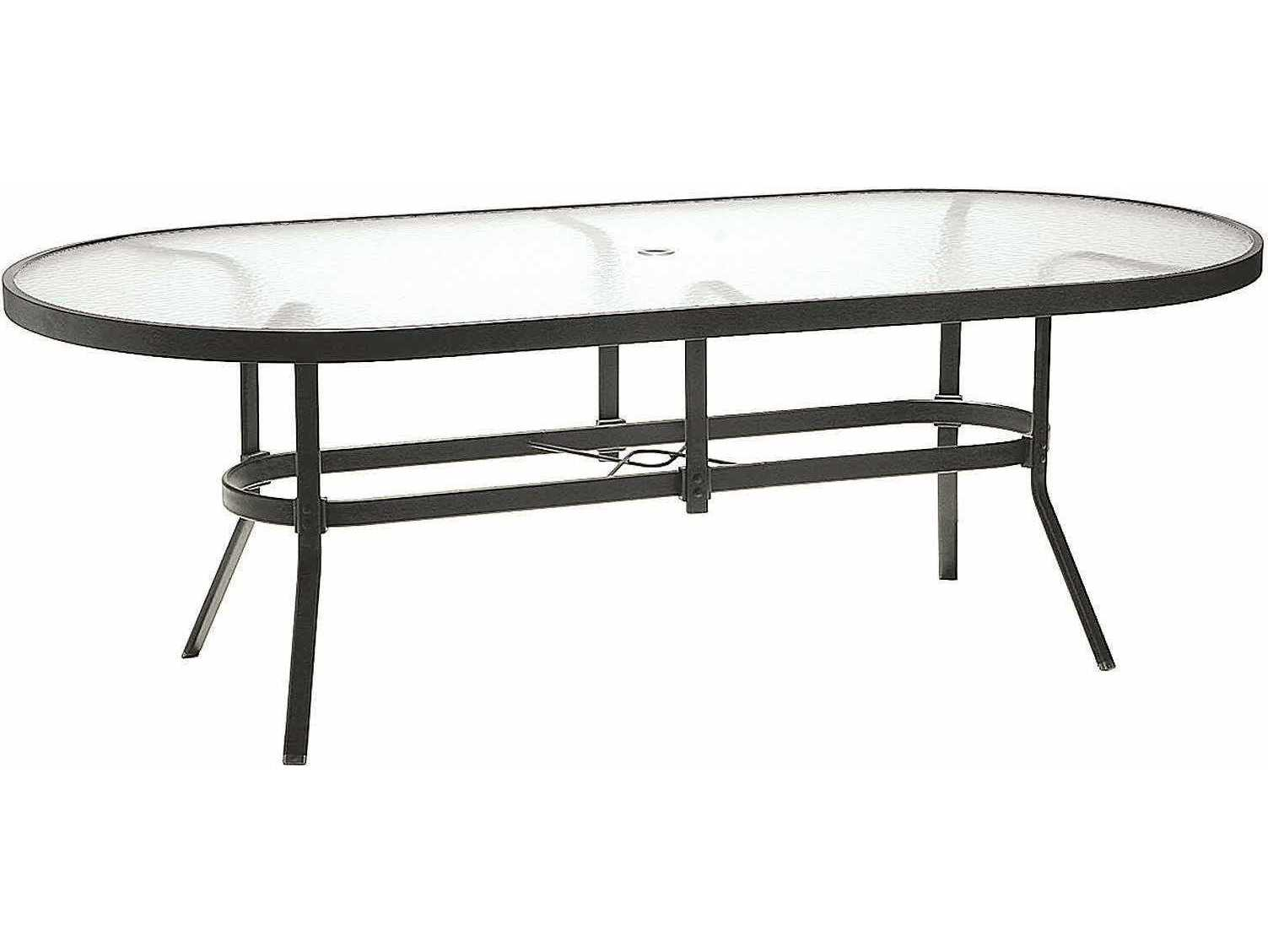 Winston obscure glass aluminum 84 39 39 x 42 39 39 oval dining for White metal outdoor dining table