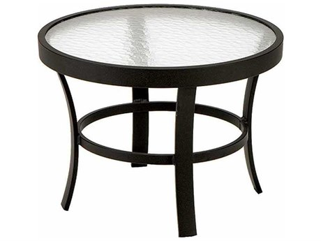 Winston Obscure Glass Aluminum 24'' Round End Table PatioLiving