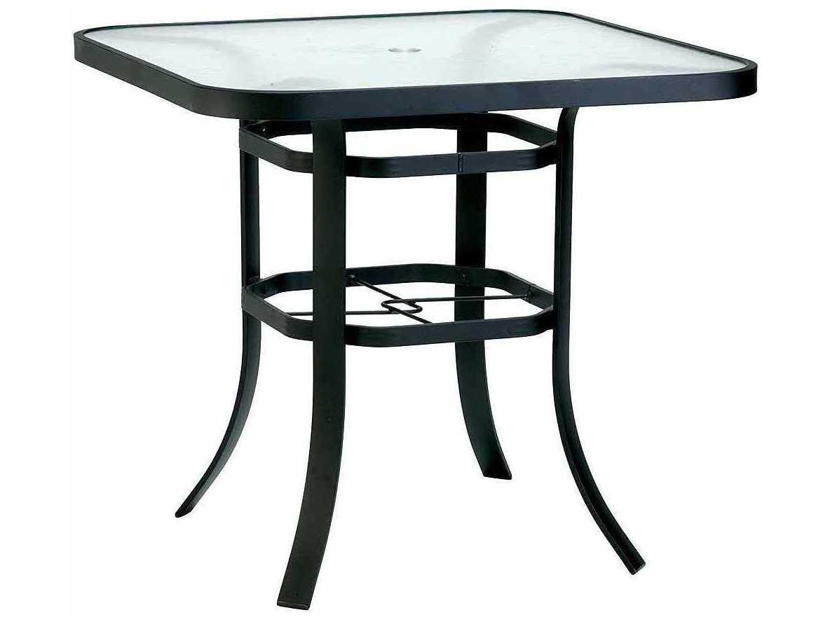 winston obscure glass aluminum 42 39 39 square bar table with umbrella hole wsm8342hgu. Black Bedroom Furniture Sets. Home Design Ideas