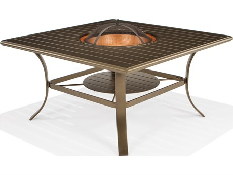 Winston Cast Aluminum 48'' Square Wood Burning Fire Pit Table