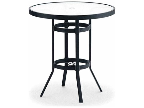 Winston Obscure Glass Aluminum 36'' Round Bar Table with Umbrella Hole