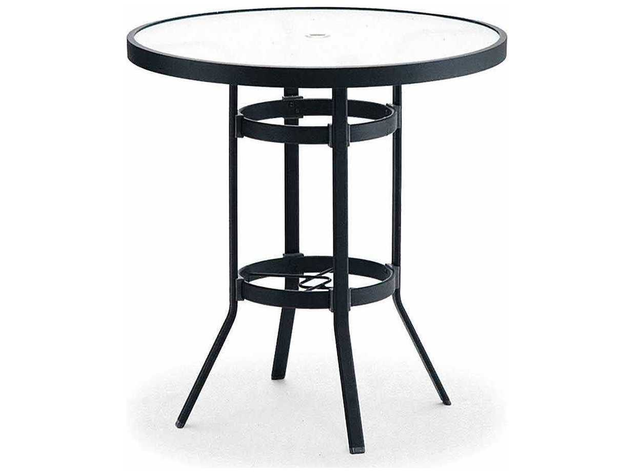 winston obscure glass aluminum 36 39 39 round bar table with umbrella hole m9136rgu. Black Bedroom Furniture Sets. Home Design Ideas