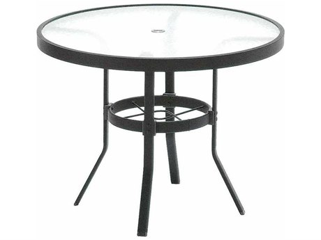 Winston Obscure Glass Aluminum 36'' Round KD Cafe Table with Umbrella Hole WSM9236RGU