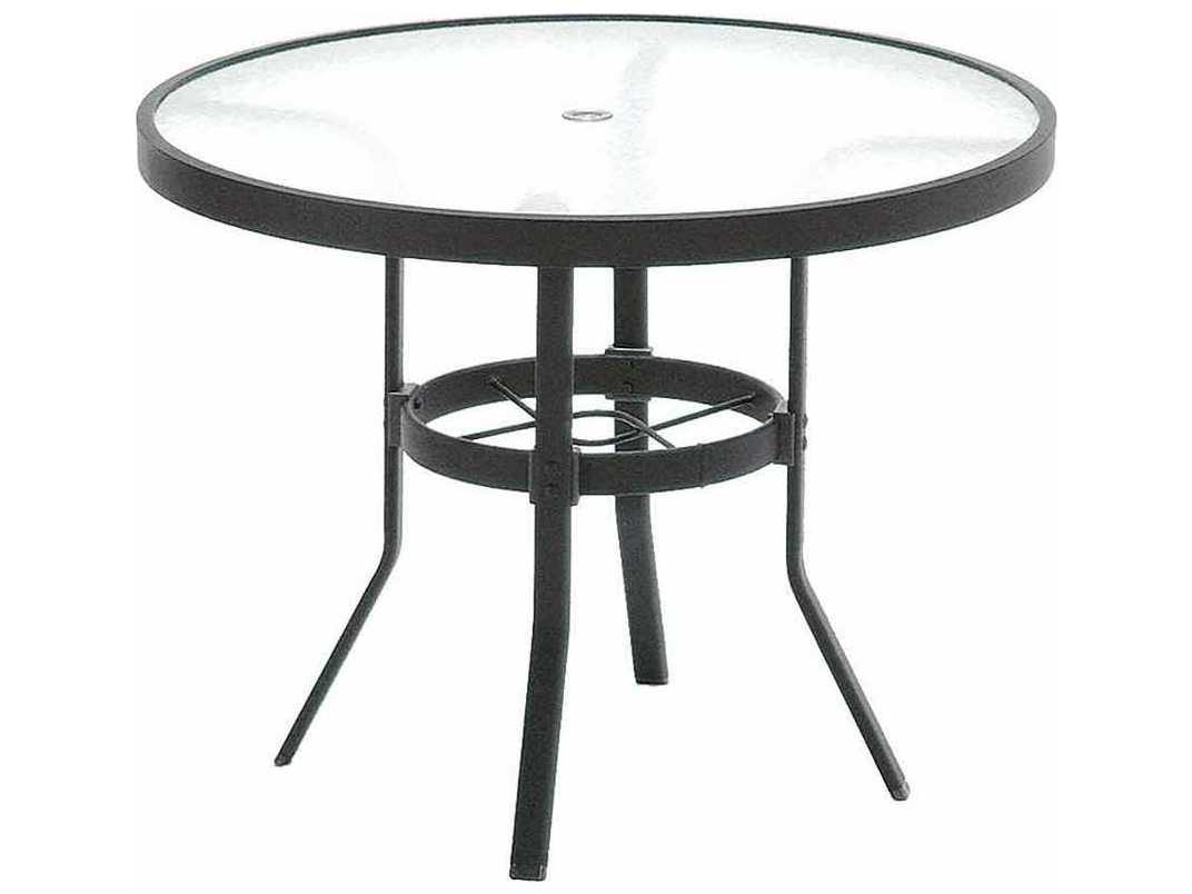 Winston obscure glass aluminum 36 39 39 round kd cafe table - Aluminium picnic table with umbrella ...