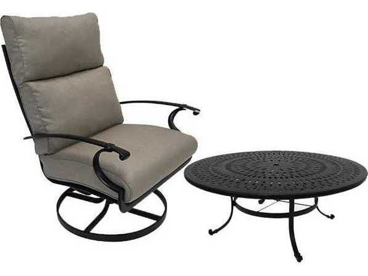 Winston Quick Ship Manor Deep Seating Cast Aluminum 2 Piece 42 Round Chat Swivel Tilt Lounge Set