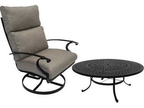 Winston Quick Ship Manor Deep Seating Cast Aluminum 2 Piece 54 Round Chat Swivel Tilt Lounge Set