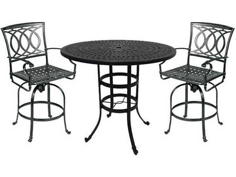 Winston Quick Ship Marseille Cast Aluminum 3 Piece Bar Swivel Dining Set
