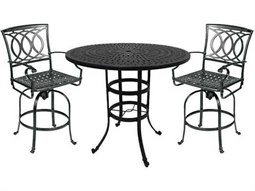 Quick Ship Marseille Cast Aluminum 3 Piece Bar Swivel Dining Set