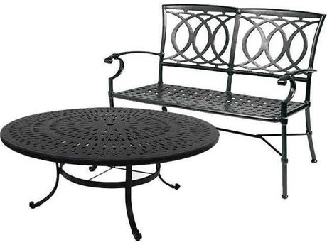 Winston Quick Ship Marseille Cast Aluminum 2 Piece 54 Round Chat Loveseat Set