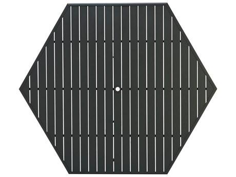 Winston Alternative Slat Extruded Aluminum 64 Hexagon Top with Umbrella Hole