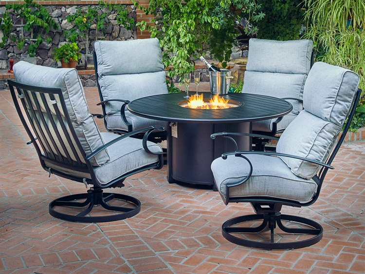 Winston Manor Deep Seating Quick Ship Cast Aluminum Fire Pit Lounge Set