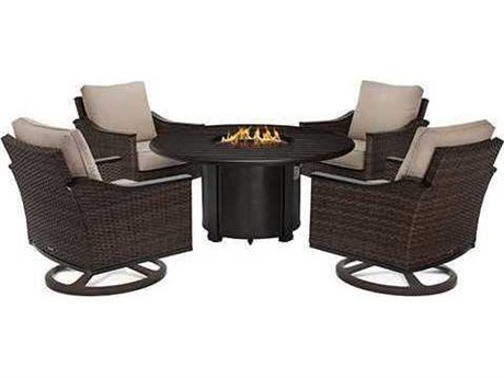 Winston Quick Ship Newport Woven Cushion 5 Piece 44 Round Swivel Tilt Lounge Lounge Set