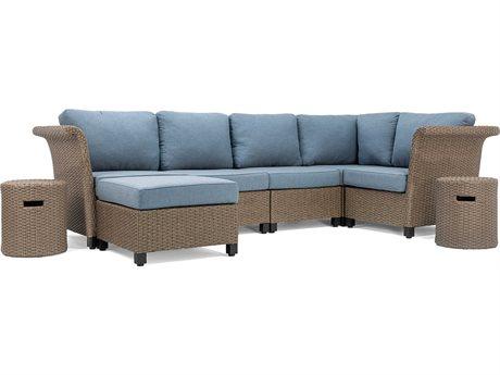Lay-Z-Boy Quick Ship Nolin Cushion Sectional Brown Wicker Lounge Set in Spectrum Denim