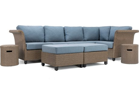 Lay-Z-Boy Quick Ship Nolin Cushion Sectional Brown Wicker Lounge Set in Spectrum Denim
