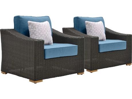 La-Z-Boy New Boston Quick Ship Wicker Grey Lounge Chair in Denim Blue (Price Includes 2)