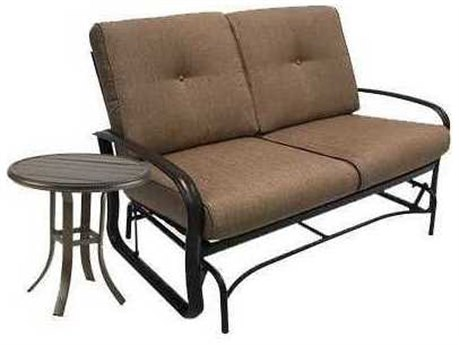 Winston Quick Ship Savoy Cushion Aluminum 2 Piece Loveseat Glider Set