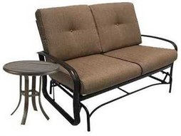 Quick Ship Savoy Cushion Aluminum 2 Piece Loveseat Glider Set