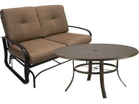 Winston Quick Ship Savoy Cushion Aluminum 2 Piece 54 Round Chat Loveseat Glider Set