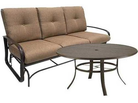 Winston Quick Ship Savoy Cushion Aluminum 2 Piece 54 Round Chat Sofa Glider Set
