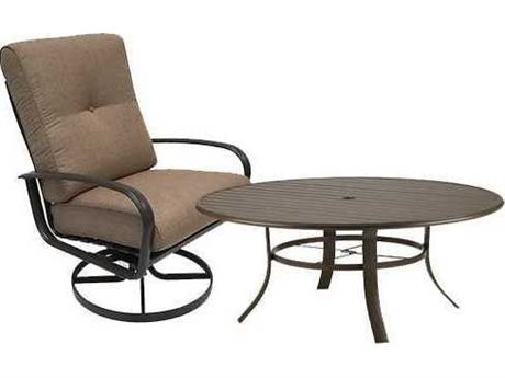 Winston Quick Ship Savoy Cushion Aluminum 2 Piece 54 Round Chat and Swivel Lounge Set