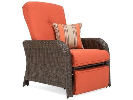 Winston Sawyer Quick Ship Wicker Sienna Brown Recliner Lounge Chair in Grenadine Orange