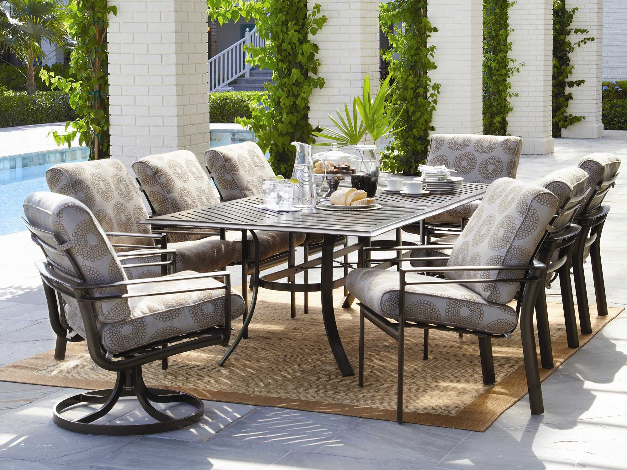 Winston Southern Cay Sling Aluminum Armless Chaise Lounge: Winston Southern Cay Cushion Aluminum Dining Set