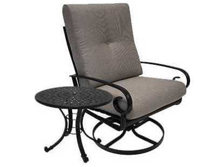 Winston Quick Ship Veneto Cushion Cast Aluminum 2 Piece Swivel Lounge Set PatioLiving