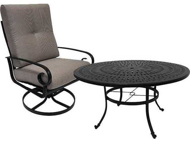 Winston Quick Ship Veneto Cushion Cast Aluminum 2 Piece 42 Round Chat Swivel Lounge Set PatioLiving