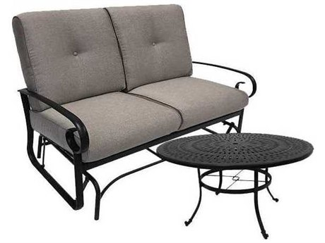 Winston Quick Ship Veneto Cushion Cast Aluminum 2 Piece 54 Round Chat Loveseat Glider Set