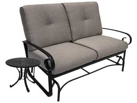 Winston Quick Ship Veneto Cushion Cast Aluminum 2 Piece Loveseat Glider Set