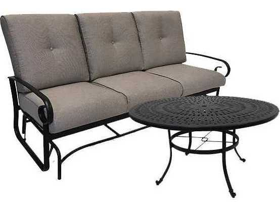 View · Winston Quick Ship Veneto Cushion Cast Aluminum Sofa Glider