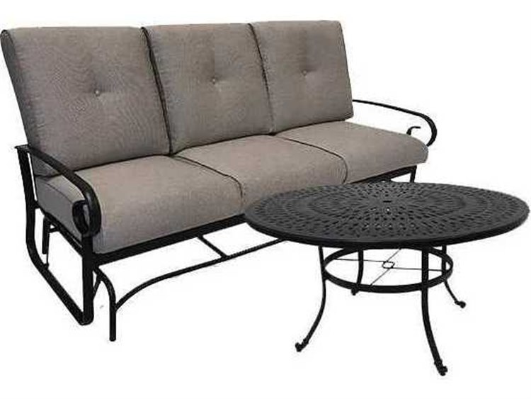Winston Quick Ship Veneto Cushion Cast Aluminum 2 Piece 54 Round Chat Sofa Glider Set