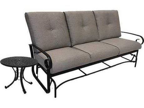 Winston Quick Ship Veneto Cushion Cast Aluminum 2 Piece Sofa Glider Set