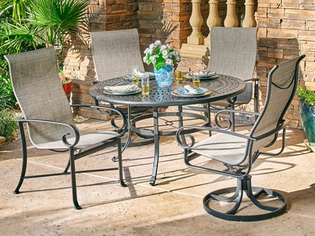Winston Veneto Sling Quick Ship Cast Aluminum Dining Set
