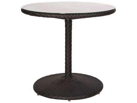 Woodard Whitecraft Barlow Wicker 30''Wide Round Glass Top Bistro Table