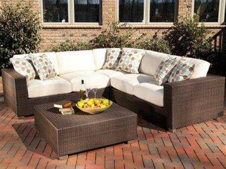 Whitecraft Montecito Wicker Sectional Cushion Lounge Set