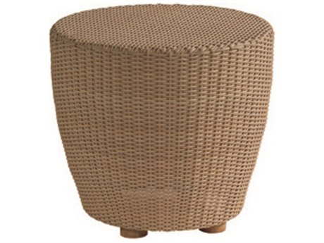 Woodard Whitecraft Saddleback Wicker 24''Wide Round End Table PatioLiving